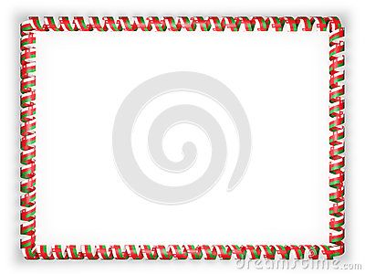 Frame and border of ribbon with the Oman flag. 3d illustration.