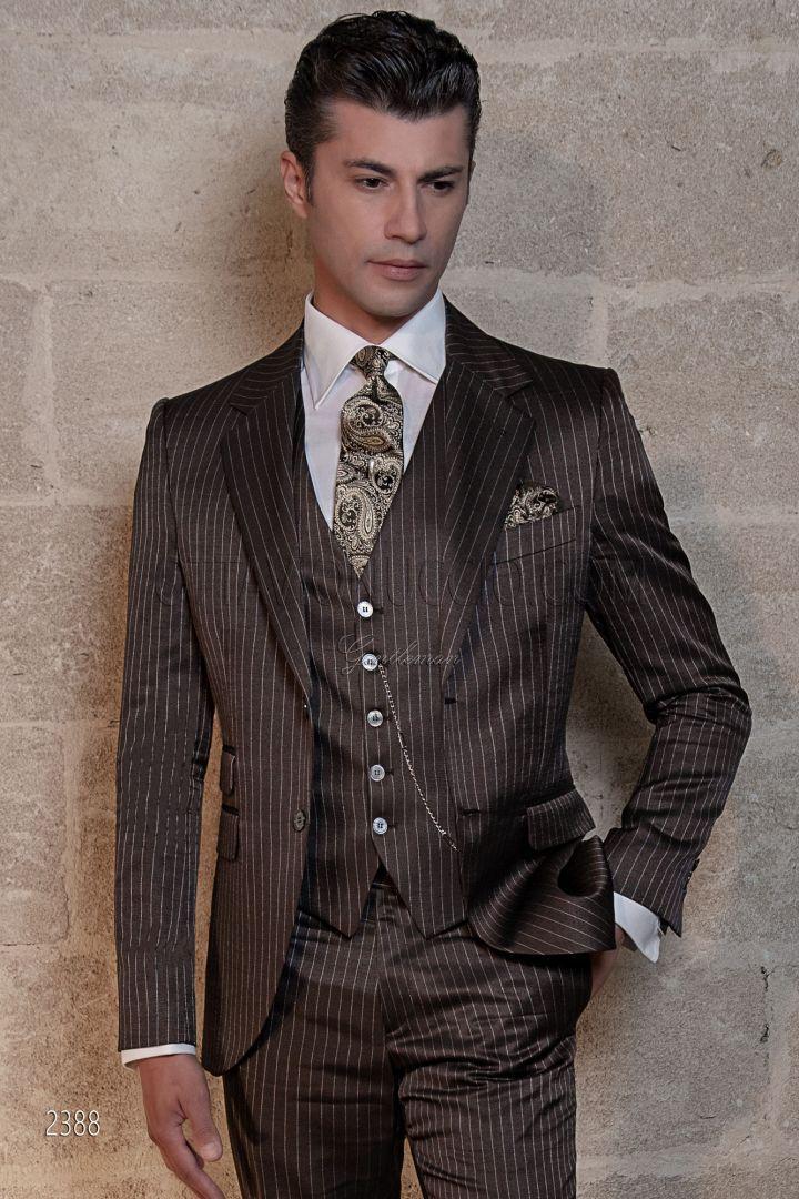 Vestito cerimonia uomo gessato marrone lana viscosa