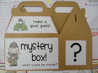 mystery box: way to introduce a lesson. 4 different clue cards, each child gets a clue, records on paper. Finds students with different clues & records. Then makes a prediction based on the clues. Cute idea!