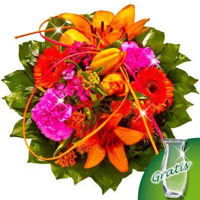 Blumenstrauß Flamenco mit Vase  Ein Feuerwerk an Farben entfacht dieser leidenschaftliche Strauß mit Lilien.  Entzünden Sie ein Feuerwerk an Farben bestehend aus 1 orangen Lilien, 2 orangen Germinis, 2 pinken Nelken, 1 Carthamus, 1 Asclepias, 2 pinken Bartnelken, 3 Pistochia, 10 Salal und einem pink-orangen Band. Der Durchmesser beträgt ca. 30 cm. Dazu erhalten Sie einen Beutel Blumennahrung und eine Pflegeanleitung.