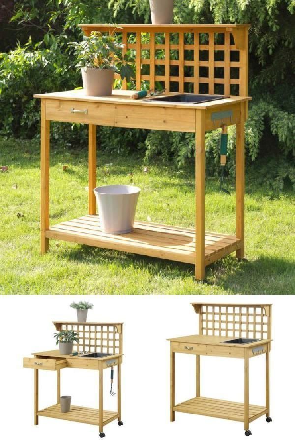 ICYMI Wood Garden Potting Table Spacious Bench BBQ Help Funiture