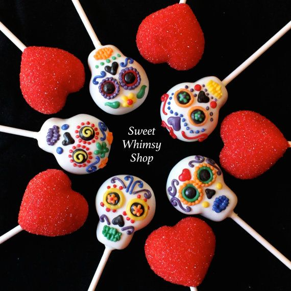 12 Sugar Skull & Glittery Red Heart Cake Pops by SweetWhimsyShop