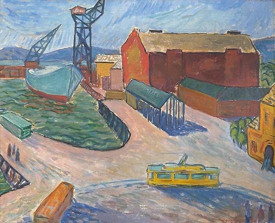 Egil Weiglin (1917-1997): Fra gamle Aker Brygge. 1940