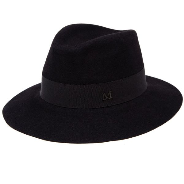 Maison Michel Classic Felt Andre Hat (664260 IQD) ❤ liked on Polyvore featuring accessories, hats, felt crown, maison michel hats, felt hat, black felt hat and band hats