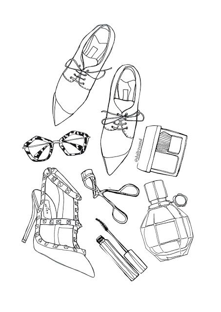 Fashion Illustration shoes, valentino high heels, perfumes, flatlay, sunglasses miu miu, oxford shoes