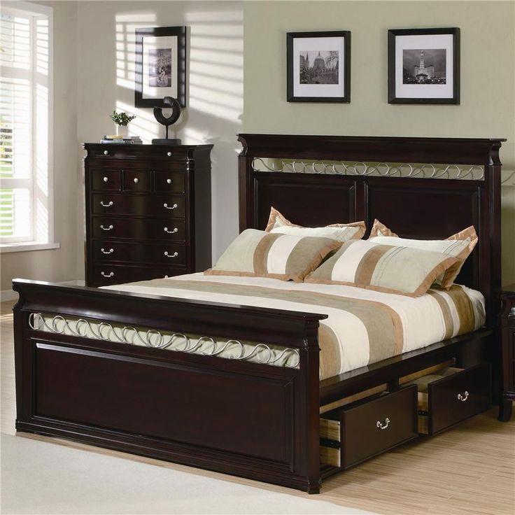 Manhattan Phoenix Espresso Platform Bed With Storage