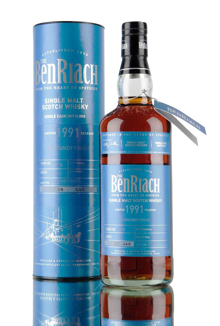A 24 year old BenRiach, distilled in 1991 and finished in a barrel that previously held Burgundy wine! Single cask #6896 was released as part of Batch 13 special single casks from BenRiach distillery, 265 bottles filled at 50.6%.