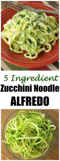 Zucchini Noodle Alfredo Recipe is low-carb, keto, gluten-free and will satisfy your urge to splurge on pasta! #lowcarbdiet #zucchininoodles #zoodles