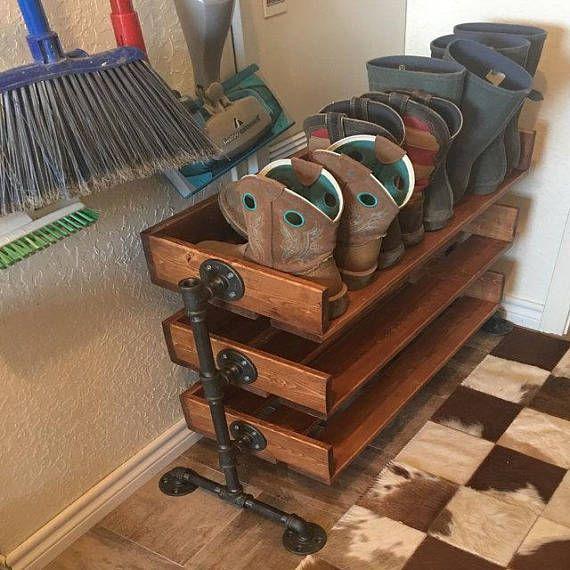 Madera reciclado hecha a mano del zapato soporte / estante