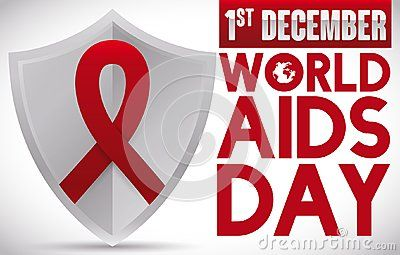 Banner with a silver shield with a red ribbon on it, promoting awareness and prevention for World AIDS Day celebration in December 1.