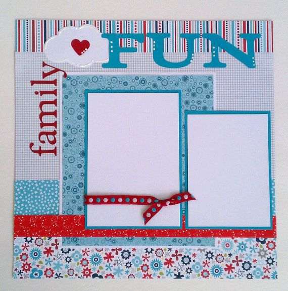 This is a one page 12x12 premade scrapbook layout page. There are two mats which will hold one 4x6 photo and one 3.5x5 photo. Cute, bright layout
