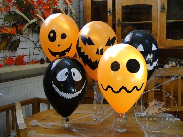 Baloane haioase, pictate cu markere acrilice Posca, pentru o petrecere de halloween de neuitat :)