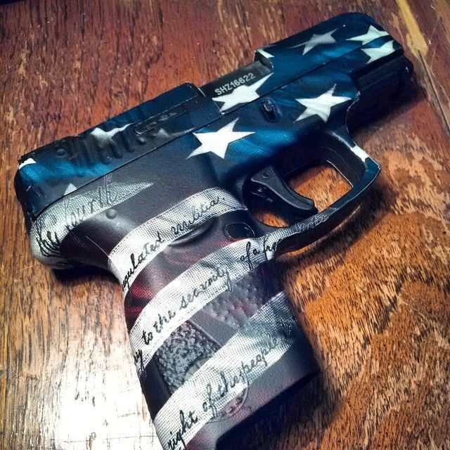"""Read More About The Victory Pattern features the 2nd Amendment text on the stripes of the American Flag. This is not a hydro dip, but an affordable non-permanent alternative called """"Pistol Skin"""". #gunskins #pistol..."""