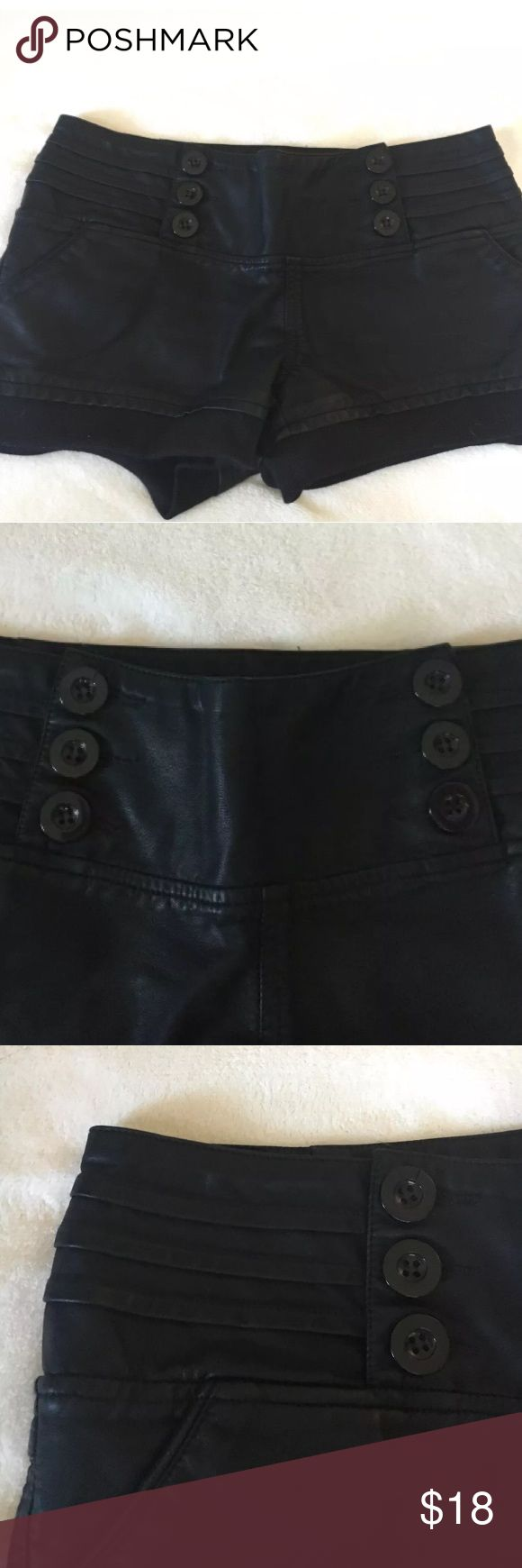 """Countess black leather rave shorts Black PU leather shorts  Very cute buttons  Great condition   Size Medium  Approximate waist 30"""" countess  Shorts"""