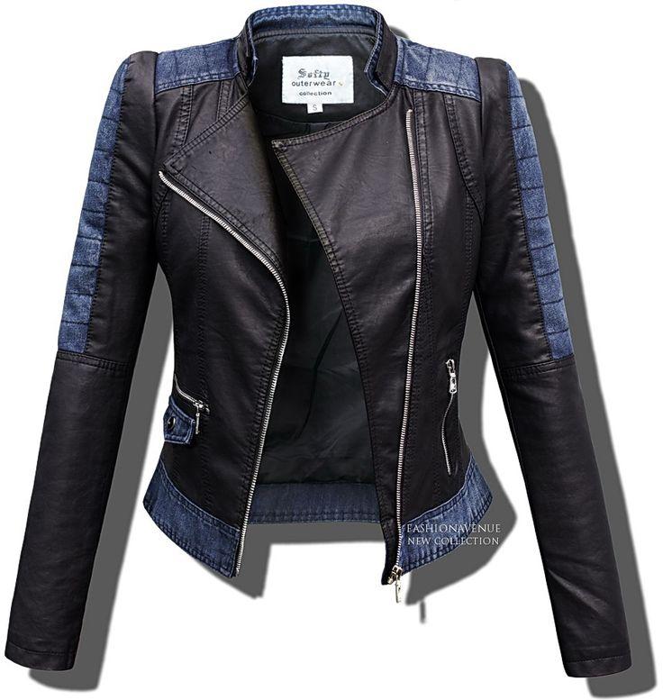Kurtka damska ramoneska Jeans + Skóra na wiosne i lato model #102 w sklepie FASHIONAVENUE.PL