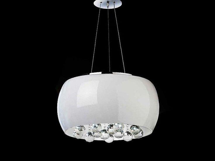 Lampa QUINCE - modne połączenie białego szkła z akrylowymi kryształkami. Lampa do kupienia w naszym sklepie: http://zlampami.pl/64__quince
