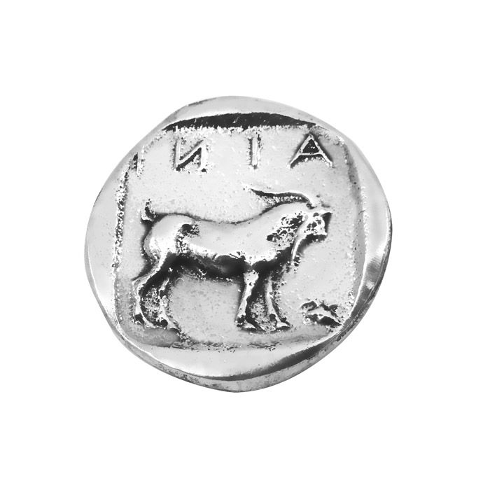 Handmade replica of the ancient silver tetradrachm of Ainos (Aenus), which is dated around the 5th century B.C., and depicts the head of Hermes, wearing a petasos. The reverse shows a goat standing right and the inscription AINI written above it, all pictured within an incuse square. Hermes was the patron deity of Ainos.The coin is offered in an acrylic case for protection and better presentation and gift packaging. Diameter of the coin: 2,3 cm.Dimensions of the case: 5 cm x 6 cm x 5 cm