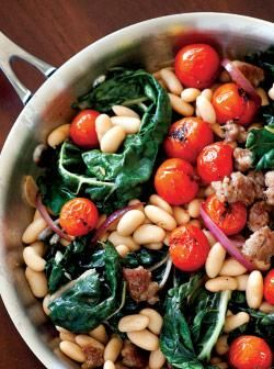 Cannellini bean and italian sausage saute: Wilt Greens Sound, Beans Sauted, Sausages W Wilt, Italian Sausages, W Wilt Greens Tomatoes Beans, Italian Sausage Soup, Greens Sound Sooo, Sausages Soups, Sausages Sauted