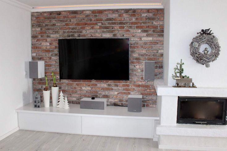 Klinkerriemchen, TV-Wand, Wandverblender, Industrie-look, Antik- und Retro-Riemchen