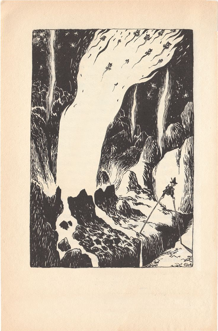 Snufkin's run-in with the volcano spirits -- from Comet in Moominland: by Tove Jansson