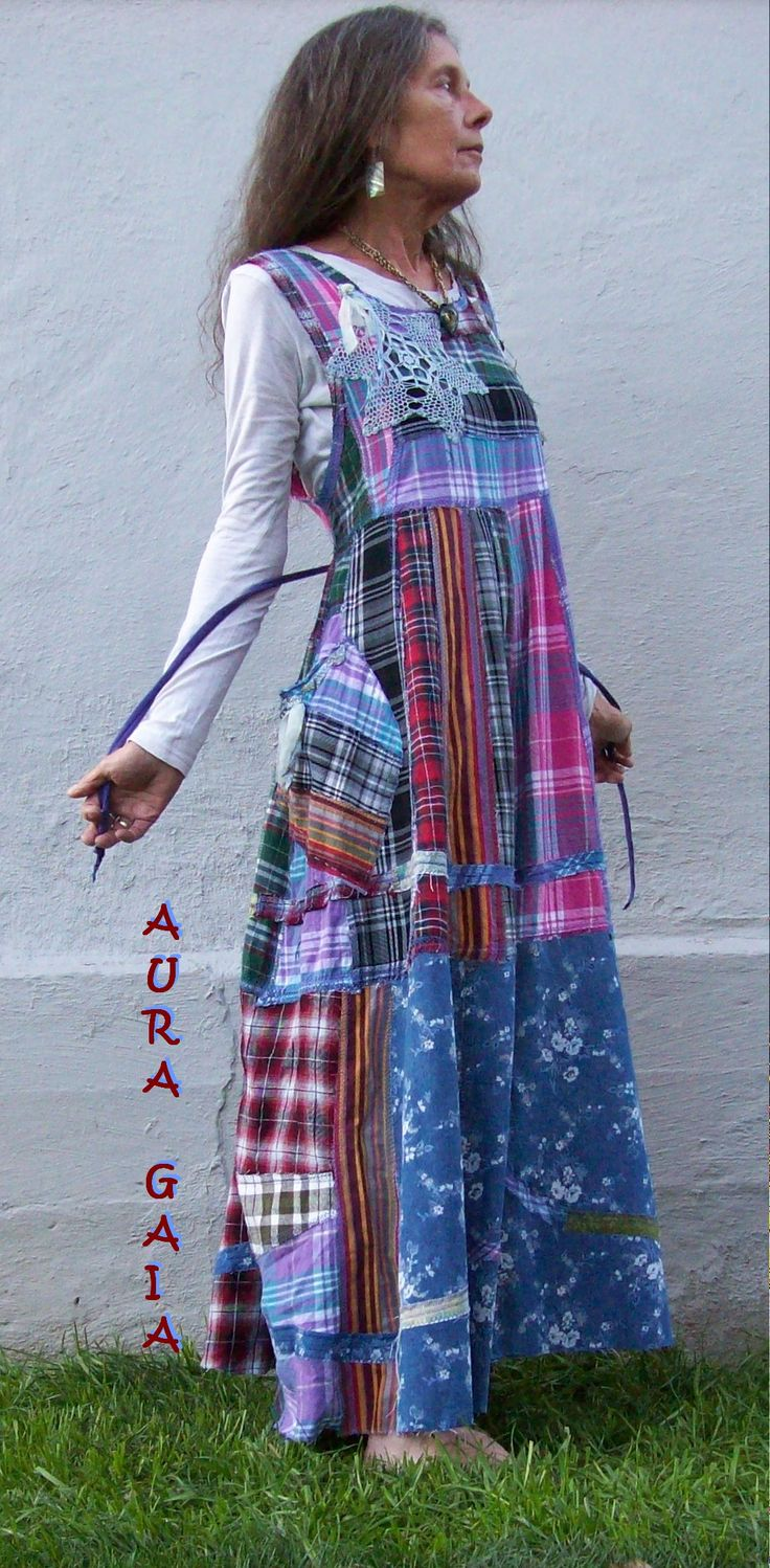 AuraGaia ~ Flannel & Denim Poorgirl Layering Jumper Tattered Patchy Upcycled Dress