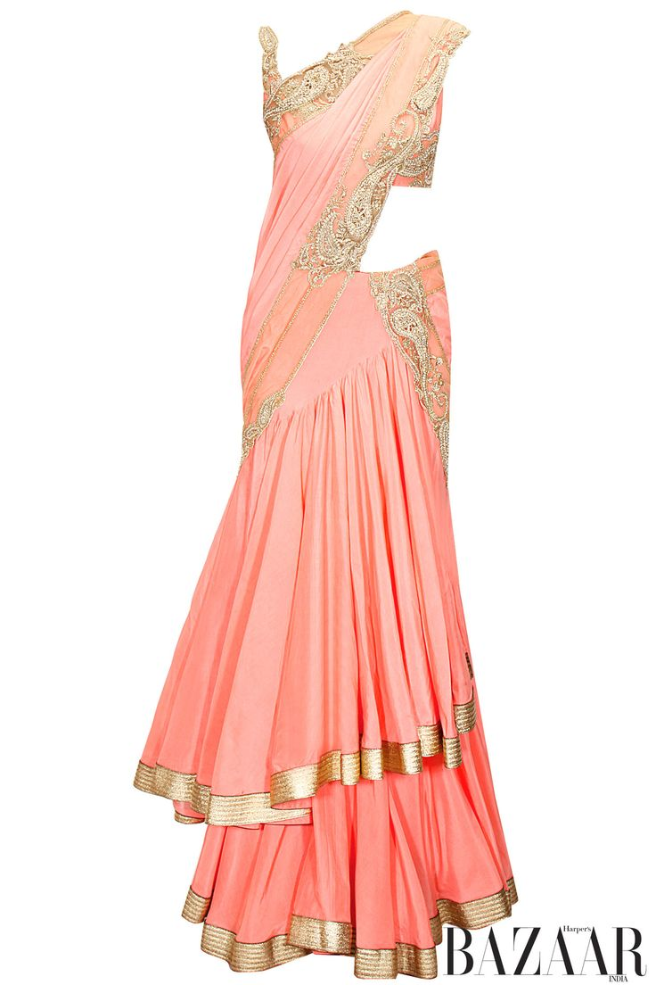 Soft pink paisley work frill lehenga sari with spaghetti blouse available only at Pernia's Pop-Up Shop.