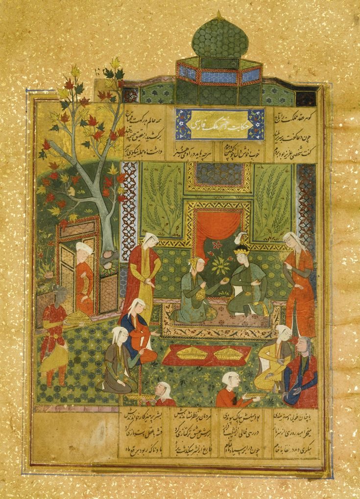 AN ILLUSTRATED AND ILLUMINATED LEAF FROM NIZAMI'S HAFT PAYKAR: KING BAHRAM IN THE GREEN PAVILION LISTENING TO THE STORY OF THE PRINCESS OF THE THIRD CLIME, PERSIA, SAFAVID, 16TH CENTURY