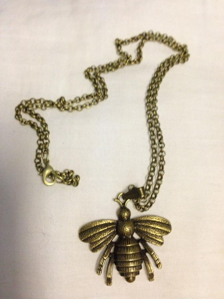 New handmade bee pendant using vintage brass tone findings $15 - postage extra if required
