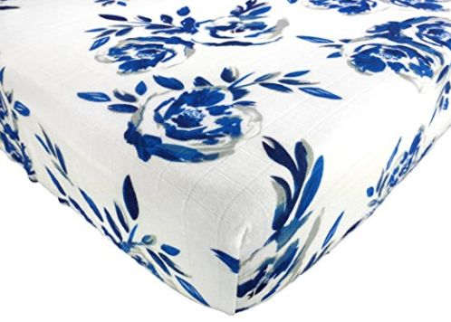 Muslin Cotton Fitted Crib Sheet - Blue Roses