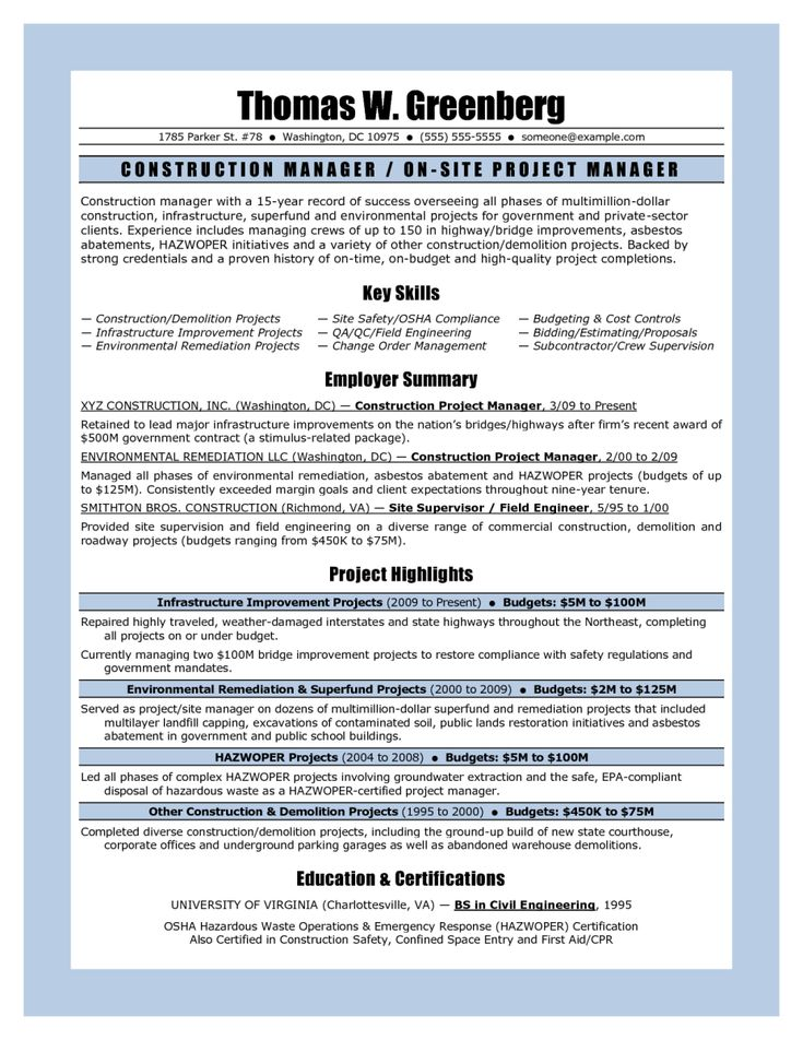 Construction Project Manager Sample Resume | Sample Resume And
