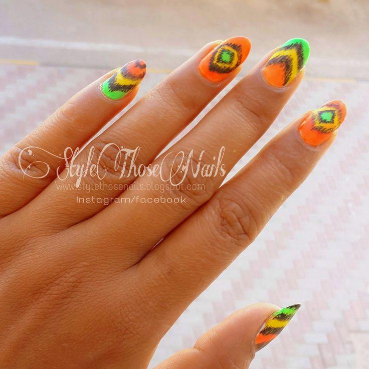 Style Those Nails: Weekend Mani - Neon Ikat Nail Art #summernails #ikatnails