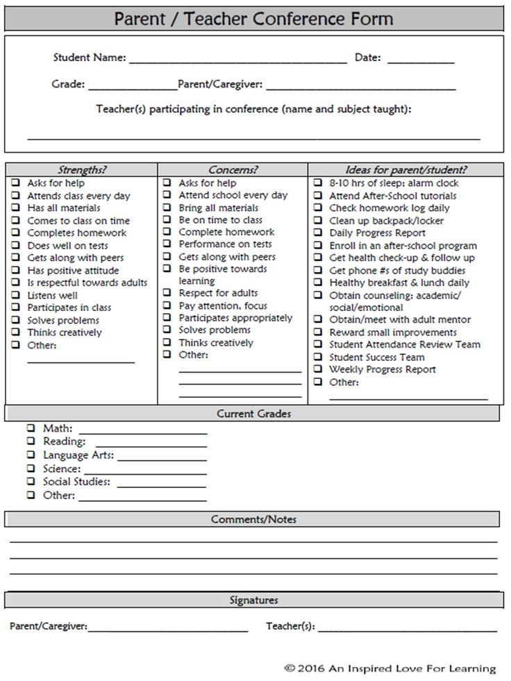 FREE- easy to use parent\/teacher conference form! Back To School - daily progress report format