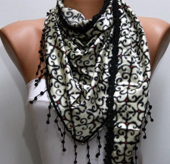 Black Shawl Scarf - by fatwoman, $17.00: Shawl Scarfs, Cowls Scarfs, Scarfs Scarves, Black Shawl, Scarfs Cowls, Scarfs Headbands, Necklaces Cowls, Lace Fatwoman, Headbands Necklaces