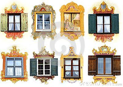 Collage of the ancient unique window. Oberammergau