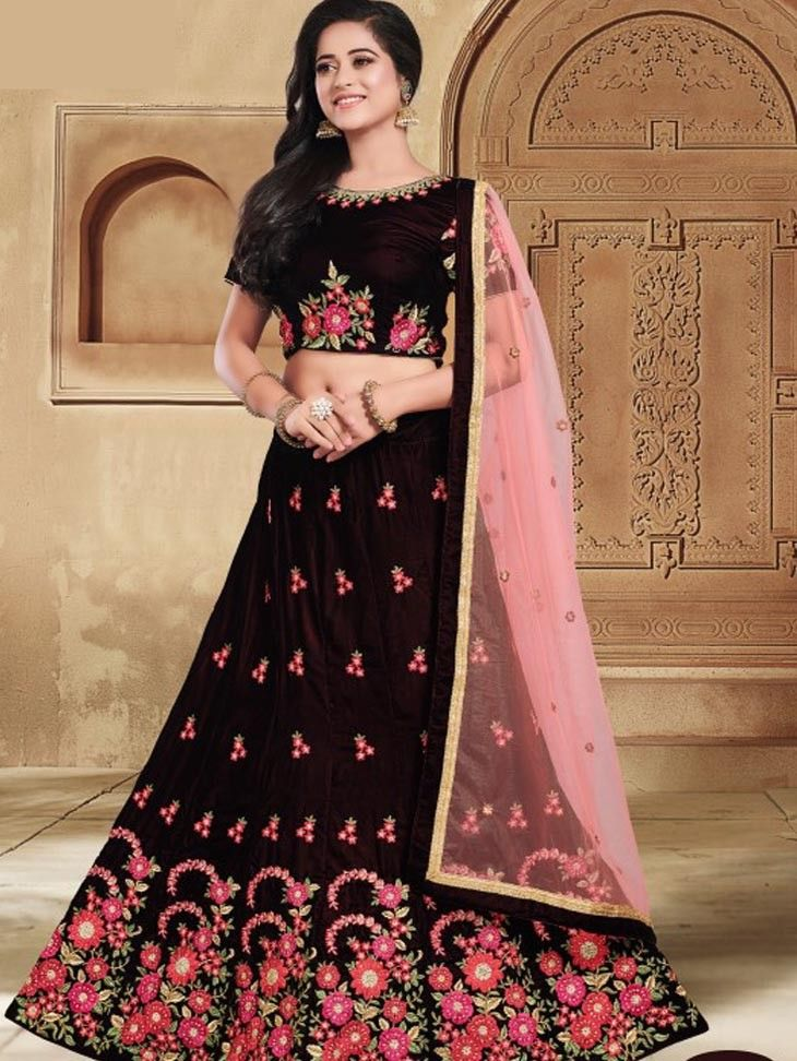 78a0a4a6884 Latest Indian designer Wedding Wear Maroon Color FLower Embroidered lehenga  choli with Pink net Border dupatta