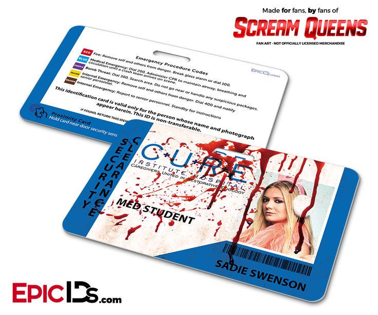 C.U.R.E. 'Scream Queens' Hospital Cosplay Employee ID Name Badge - Sadie Swenson