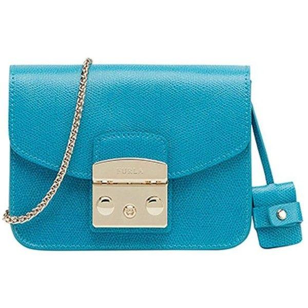 Furla Metropolis Bag (€201) ❤ liked on Polyvore featuring bags, handbags, shoulder bags, light blue, furla handbags, chain handbags, furla purses, blue handbags and furla