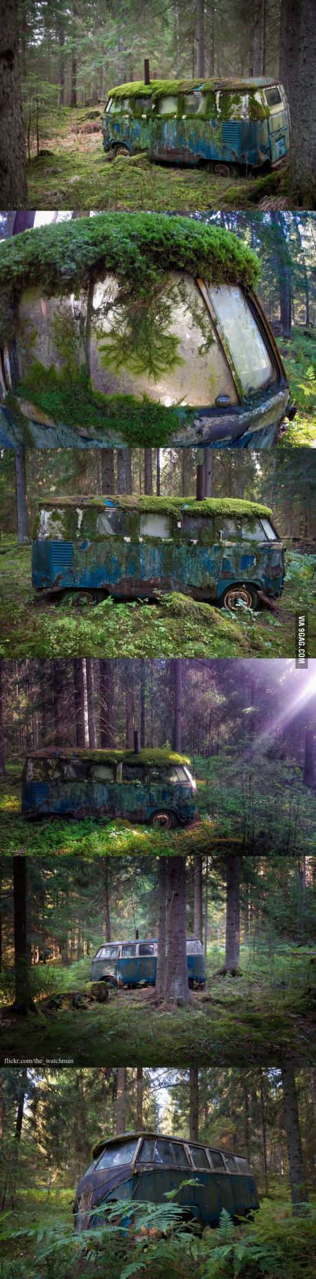 Abandoned VW bus that was once someone's home, deep in the forests of Norway.:
