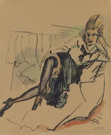 Hermann Max Pechstein (1881-1955), Sitzende Mit Violetten Strumpfen 1919 (58,4 x 47,2 cm) on ArtStack #hermann-max-pechstein-1881-1955-1 #art
