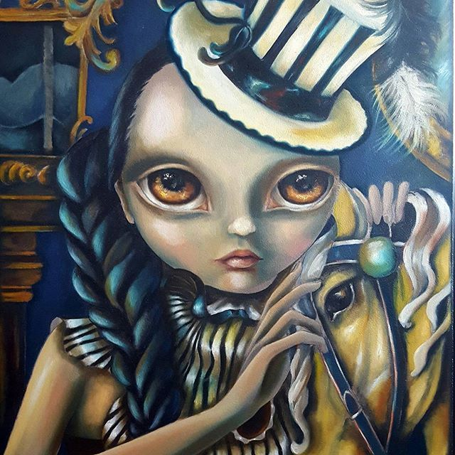 One of my favorite pieces 'Carousel Ride' (trying out this instagrid thing, I really like big photos ❤ , please excuse me for it)  #popsurrealism #artwork #oilpainting #lowbrowart #circus #instagrid #bigeyes #popsurrealism #carousel  #2016sketchadaychallenge #instadaily #beautifulbizarre #lowpopartists #arts_help