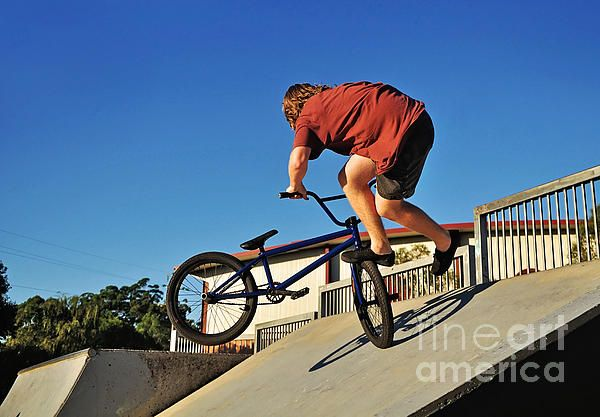 #BICYCLE #STUNT - #ACTION #Bike Prints & Cards available at:  http://kaye-menner.artistwebsites.com/featured/bicycle-stunt-action-kaye-menner.html  -