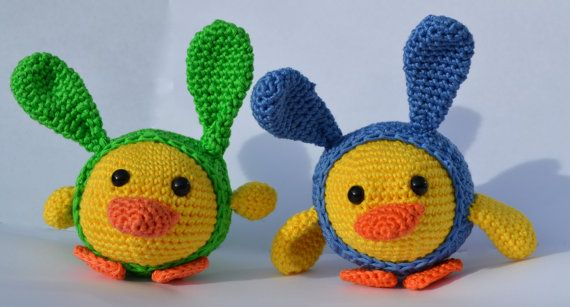 Crocheted wacky Easter Chicks who love chocolate Easter eggs