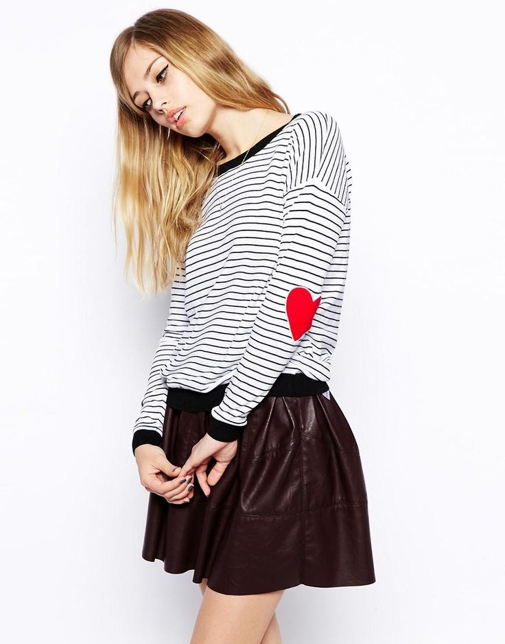 ASOS | ASOS Stripe Jumper With Elbow Patch at ASOS