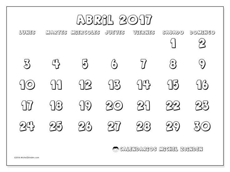 Gratis! Calendarios para abril 2017 para imprimir