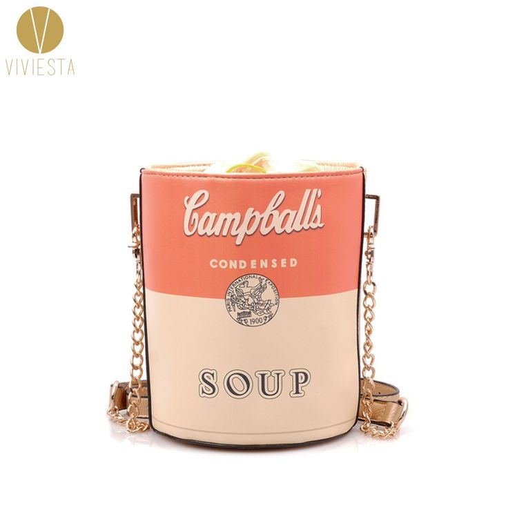 HANDBAG- Under $20. . .VINTAGE SOUP CAN BUCKET BAG - Women's Fashion Pop Art Retro Fun Cute Party Novelty Statement Clutch Crossbody Across Bag Handbag