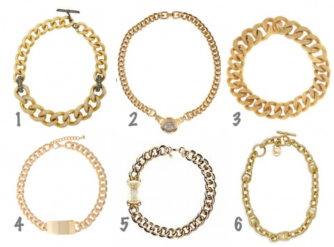 Hot accessory trend: short and thick gold chain necklaces! 1. Lanvin   2. Givency   3. Yves Saint Laurent   4. ASOS   5. Mimco (House of Fraser)   6. Michael Kors