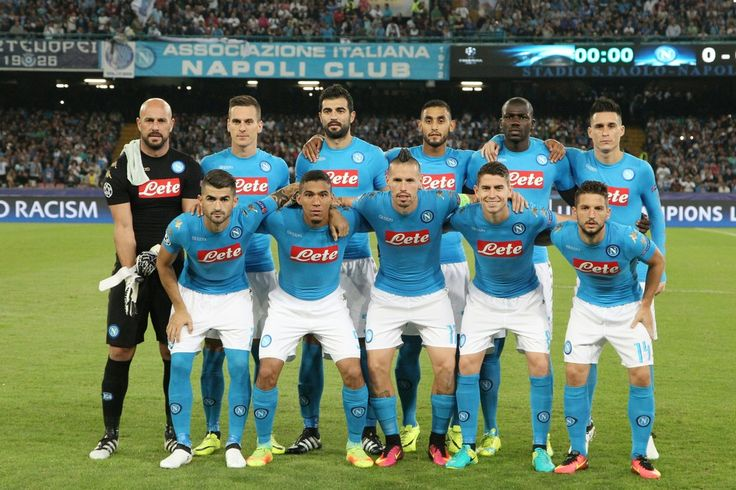 Napoli's team players (from top left) Napoli's goalkeeper from Spain Pepe Reina, Napoli's forward from Poland Arkadiusz Milik, Napoli's defender from Spain Raul Albiol, Napoli's defender from Algeria Faouzi Ghoulam, Napoli's defender from France Kalidou Koulibaly, Napoli's midfielder from Spain Jose Maria Callejon, Napoli's defender from Albania Elseid Hysaj, Napoli's midfielder from Brazil Allan, Napoli's midfielder from Slovakia Marek Hamsik, Napoli's midfielder from Brazil Jorginho and…