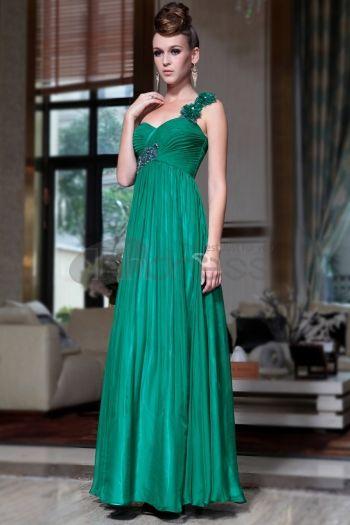 Abiti in Magazzino-una spalla abito da sera fornitore verde scuro lunghi abiti da ballo con perline e paillettes