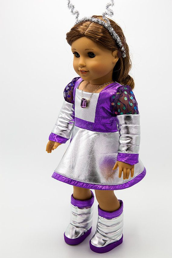 OOAK, Halloween Costume, 60s Martian, includes Boots and Necklace. Made with the 60's Martian Pattern found here http://www.pixiefaire.com/collections/18-inch-doll-costume-patterns/products/60s-martian-rainbow-girl-18-doll-clothes. #pixiefaire #60smartianandrainbowgirl #originalsbygaby