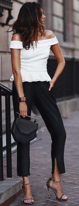 White Bardot Top + Black Chic Pants                                                                             Source